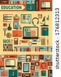 set of plane icons   education. ... | Shutterstock .eps vector #176812313