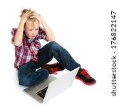a terrified pre teen boy with... | Shutterstock . vector #176822147
