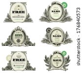 Vector Financial Frame and Badge Set. Easy to edit, all pieces are separated.