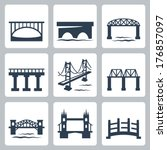 Stock vector vector isolated bridges icons set 176857097