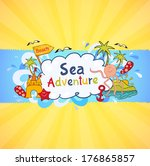 colorful beach banner with... | Shutterstock .eps vector #176865857