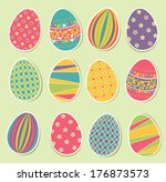 set of colorful easter eggs | Shutterstock .eps vector #176873573