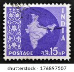 india   circa 1957  a stamp... | Shutterstock . vector #176897507