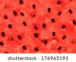 red texture of sweet watermelon | Shutterstock . vector #176965193
