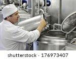 worker on a modern milk factory | Shutterstock . vector #176973407