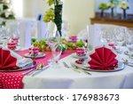 elegant table set  for wedding... | Shutterstock . vector #176983673
