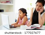 busy mother working from home...   Shutterstock . vector #177027677