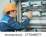 young adult electrician builder ... | Shutterstock . vector #177048077