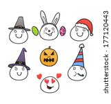 set of different holiday heads | Shutterstock .eps vector #177120443