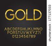 thin gold font and numbers  eps ... | Shutterstock .eps vector #177137033