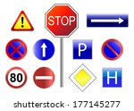 set of traffic signs with... | Shutterstock .eps vector #177145277