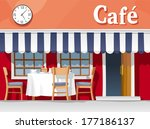 small street cafe with striped... | Shutterstock .eps vector #177186137