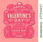 happy valentines day cards with ... | Shutterstock . vector #177214217