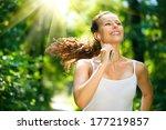 running woman. female runner... | Shutterstock . vector #177219857