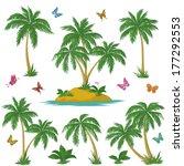 Tropical Set  Sea Island With...