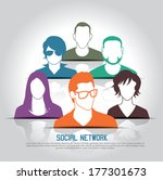 social media icons with group... | Shutterstock .eps vector #177301673
