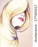 beautiful woman face.... | Shutterstock . vector #177303317