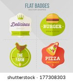 flat vector badges. food | Shutterstock .eps vector #177308303