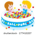 children playing in a ball pool | Shutterstock .eps vector #177410207