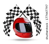 red moto helmet. two crossed... | Shutterstock . vector #177447797
