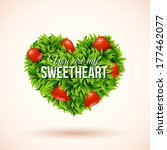 heart shape label made of leafs.... | Shutterstock .eps vector #177462077