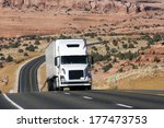 semi truck on difficult road in ... | Shutterstock . vector #177473753