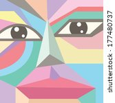 abstract face  polygon style ... | Shutterstock .eps vector #177480737