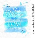 Sea Watercolor Poster In Blue...