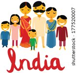 happy large indian family with... | Shutterstock .eps vector #177520007