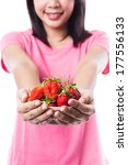 happy woman holding a bowl full ... | Shutterstock . vector #177556133