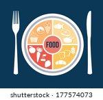 menu design over blue... | Shutterstock .eps vector #177574073