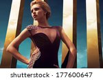 diamond dress on golden sky | Shutterstock . vector #177600647