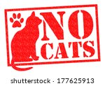 No Cats Red Rubber Stamp Sign...
