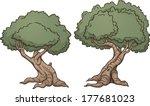 Gnarly Cartoon Trees. Vector