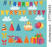 birthday set | Shutterstock .eps vector #177736433