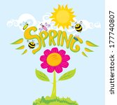 spring word  flowers and... | Shutterstock .eps vector #177740807