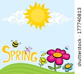 spring word  flowers and... | Shutterstock .eps vector #177740813