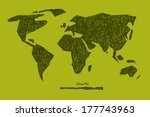 world map illustration on green ... | Shutterstock . vector #177743963
