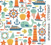 seamless pattern with sea icons | Shutterstock .eps vector #177750347