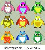colorful owls | Shutterstock .eps vector #177782387