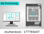 3d printer printing a cyan...