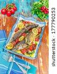 fish. whole roast mackerel and...   Shutterstock . vector #177790253