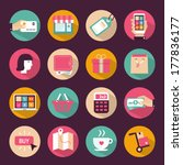 set of flat style shopping icons | Shutterstock .eps vector #177836177