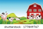 illustration of a dairy farm