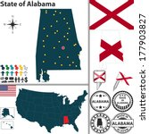 Vector set of Alabama state with flag and icons on white background