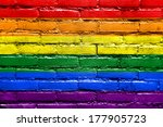 Rainbow Flag Painted On Brick...