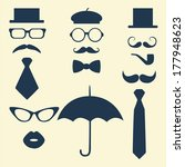 Retro Party set - glasses; lips; mustaches; umbrella; hat; tie