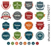 set of retro vintage badges and ... | Shutterstock . vector #177964277