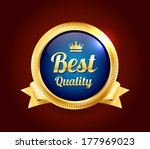 golden best quality badge | Shutterstock .eps vector #177969023