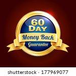 golden 60 day guarantee badge | Shutterstock .eps vector #177969077